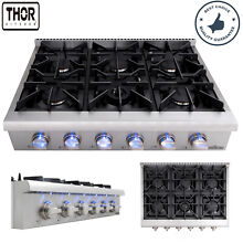 Thor Kitchen 36in  6 Burners Cooktop Gas Stove NG  LPG 120V Hob Cooker Stainless