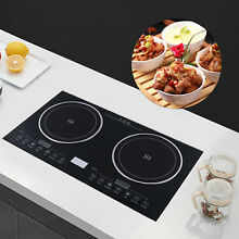Electric Countertop Built in Induction Ceramic Cooker Cooktop 2Burner 2600W USED