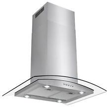36  Glass Modern Island Mount Fan Stainless Steel Ductless Range Hood Kitchen