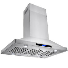 36  Kitchen Island Mount Stainless Steel Range Hood w  Baffle Vent