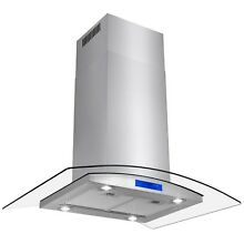36  Stainless Steel Island Mount Range Hood Touch Panel With Tempered Glass