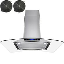36  Island Mount Ductless Ventless Stainless Steel Range Hood w  Carbon Filters