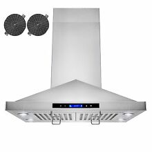 30  Island Mount Ductless Ventless Stainless Steel Range Hood Vent Touch Panel