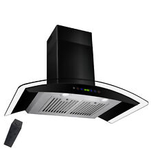 36  Ductless Wall Mount BLACK Stainless Steel Range Hood Gas Sensor Stove Vent