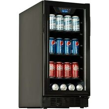 Built In 80 Can Beverage Center Fridge  Black Compact Glass Door Drink Cooler