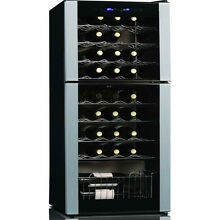 Spacious 45 Bottle Dual Zone Wine Chiller  Free Standing Red  White Refrigerator