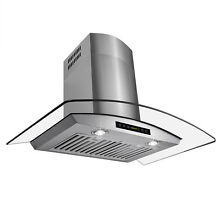 30  Stylish Wall Mount Stainless Steel   Glass Ventless Range Hood Stove Vents