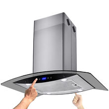 Kitchen Island Mount 30  Stainless Steel Range Hood with Grease Filter
