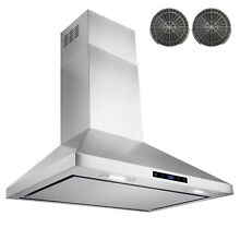 30  Modern Stainless Steel Wall Mount Range Hood Touch Screen With Carbon Filter