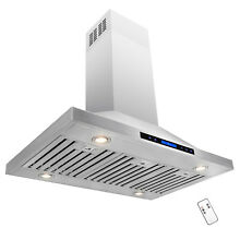 42  Stainless Steel Island Mount Range Hood Touch Screen Display Remote Control