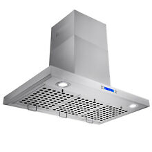 30  Kitchen Wall Mount Stainless Steel Range Hood w Baffle Vent LED Push Button