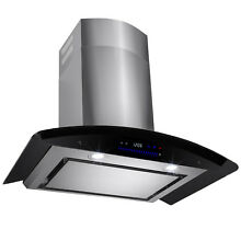 30  Wall Mount Stainless Steel Range Hood Touch Screen Control Ductless