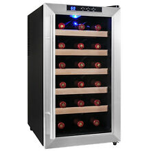 18 Bottle Single Zone Chiller Refrigerator Silver Thermoelectric Wine Cooler