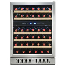 46 Bottle Dual Zone Touch Control Compressor Freestanding Wine Cooler Chiller