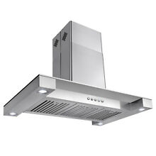 36  Stainless Steel Island Canopy Mount Range Hood Flat Glass Push Panel Modern