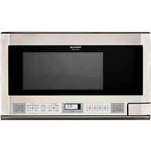 Sharp R1214 Carousel Over the Counter Microwave Oven 1 5 cu  ft  1100W Stainles