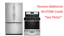 Whirlpool 2 Kitchen Appliance Stainless Gas Range Refrigerator Package  1