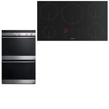 Fisher Paykel CI365DTB1 OB30DDEPX2 30  Stainless DBL Oven 36  Induction Cooktop