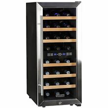Dual Zone 24 Bottle Stainless Steel Wine Cooler  Free Standing Compact Chiller