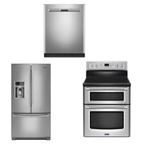 Maytag 3 Unit Package Stainless Refrigerator Range Dishwasher  9