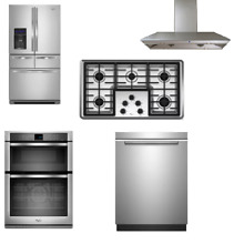 Whirlpool 5 Kitchen Package Stainless Refrigerator Cooktop Dishwasher Oven Hood