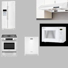 KitchenAid 5 Kitchen Package White Refrigerator Range Dishwasher Hood Microwave