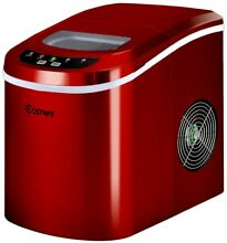 Portable Compact Ice Maker Electric Mini Machine Kitchen Countertop Red 1 5 Lbs