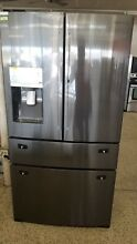 SAMSUNG 22 Black Stainless French 4 Door Counter Depth Refrigerator RF22KREDBSG