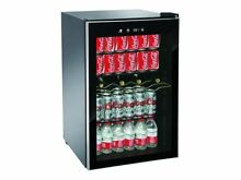 Beverage and Wine Cooler 110 Can 4 Wine Bottles Adjustable Digital Temp Black