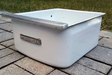 Vintage refrigerator vegetable crisper bin enamel drawer porcelain farmhouse
