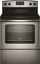 Amana 2491778 4 8 Cu  Ft  Smooth Top Electric Range With Radiant Elements SS