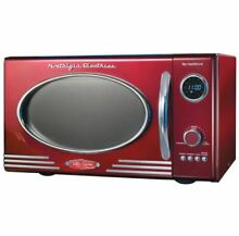 Red Nostalgia Electrics Countertop Retro Microwave Oven