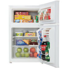 Danby 3 2 Cu Ft  Compact Top Mounted Refrigerator Freezer w  Glass Shelves White