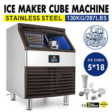 Ice Cube Making Machine 287lb 24h Commercial Ice Cube Maker 90pcs Stainless
