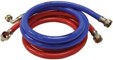 EASTMAN 2 Pack 6ft L Hose Inlet Outlet Braided Steel Washing Machine Connector