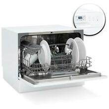 Stainless Steel Kitchen Dishwasher w  6 Place Setting Compact Design   White