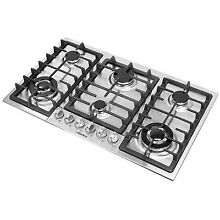 34in  GAS Silver Stainless Steel Cooktop Stove 6 Burner Cook Top Kitchen HM68023