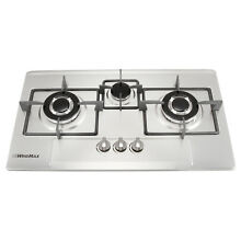 28 35  Stainless Steel 3 Burners Cooktop Fixed Built In Gas Hob Cooker