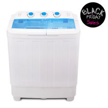 17LBS Portable Washing Machine Mini Compact Twin Tub Laundry Washer Spin Dryer