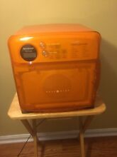 SHARP CAROUSEL HALF PINT MICROWAVE ORANGE R 120DR RV DORM CABIN SPACE SAVER WORK