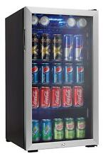 Commercial Mini Fridge Beverage 3 3 Cubic Feet Glass LED Light 120 Cans Capacity