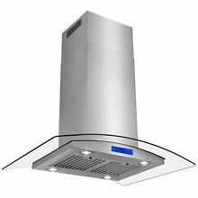 Range Hood 36  Stainless Steel Island  With Baffle Filters Kitchen Touch Control