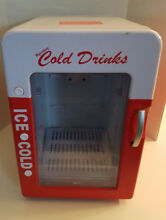Portable Mini Car Cooler Warmer Fridge Red White Retro Camp Cold Drinks 12V DC