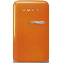 Smeg FAB5ULO 50 s Retro Style Mini Refrigerator  Orange  Left Hand Hinge