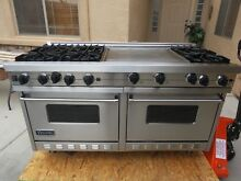 VIKING PROFESSIONAL VGRC6056GDSS 60  LP   GAS RANGE  6 BURNER  DOUBLE GRIDDLE