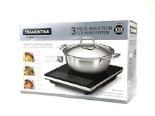 Tramontina 3 piece Induction Cooking System Set  Portable Cooktop   NEW