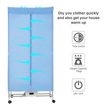 Electric Clothes Dryer Laundry Storage Heater Drying Folding Remote Control  US