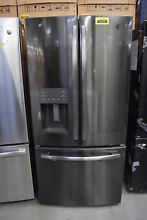 GE GFE24JBLTS 33  Black Stainless French Door Refrigerator  30012 HRT