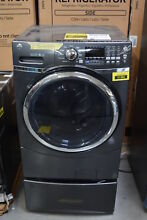 GE GFW450SPKDG 27  Diamond Gray Front Load Washer w  Pedestal  30017 HRT