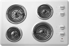 New Whirlpool WCC31430AW00 30  White 4 Burner Electric COIL COOKTOP